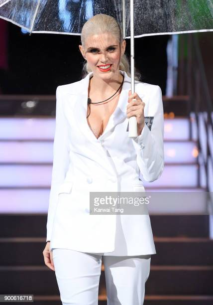 Ashley James enters the Celebrity Big Brother house on launch night at Elstree Studios on January 2 2018 in Borehamwood England