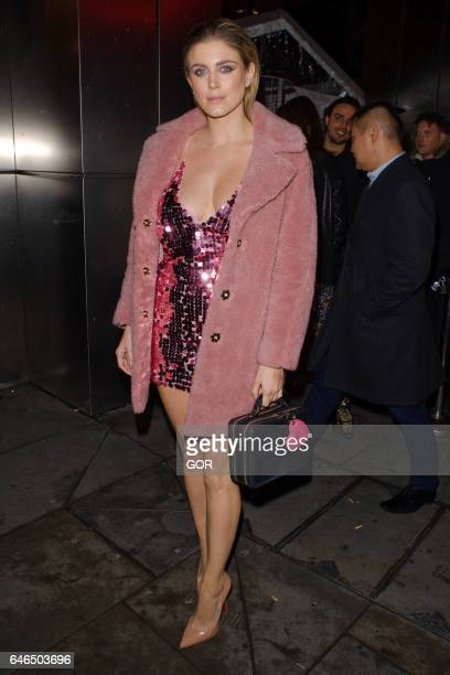Ashley James leaving Sushi Samba restaurant on February 28 2017 in London England