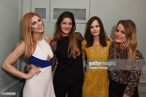 Ashley James Paula Anton Charlotte De Carle and Louise Troen attend a private dinner hosted by Whitney Wolfe founder and CEO of Bumble dating app at...
