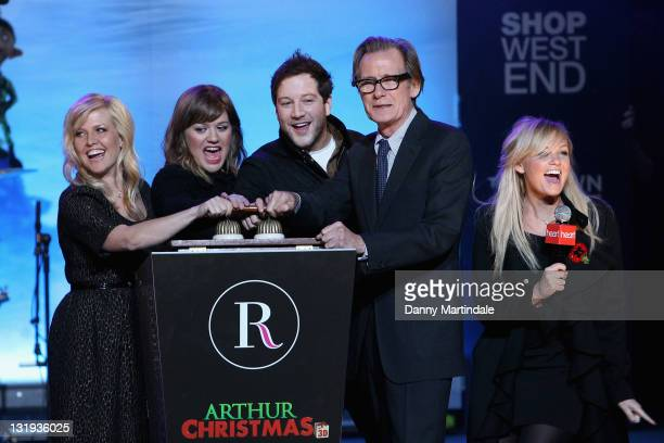 Ashley Jensen Kelly Clarkson Matt Cardle Bill Nighy and Emma Bunton switch on the Christmas lights in Regent Street celebrating the new film 'Arthur...