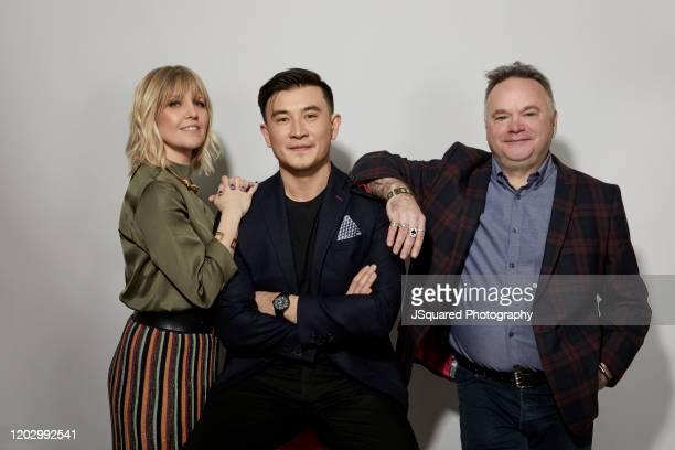 Ashley Jensen Matt McCooey and Barry Ryan of Acorn TV's Agatha Raisin poses for a portrait at the 2020 Winter TCA Portrait Studio at The Langham...