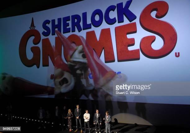Ashley Jensen Stephen Merchant James McAvoy David Furnish and Sir Elton John on stage at the 'Sherlock Gnomes' London Family Gala hosted by Sir Elton...
