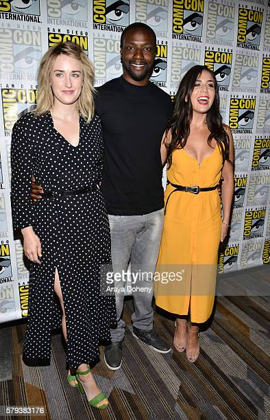 Ashley Johnson Rob Brown and Audrey Esparza attend the Blindspot press line at ComicCon International 2016 Day 3 on July 23 2016 in San Diego...