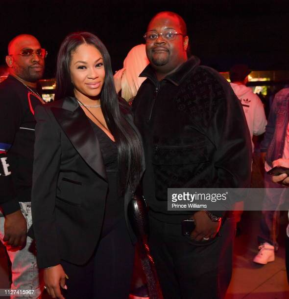 Ashley Joi Sadler and Poo Bear attend the Official Big Game Take over Hosted by Cardi BMeek Mill at Compound on February 3 2019 in Atlanta Georgia