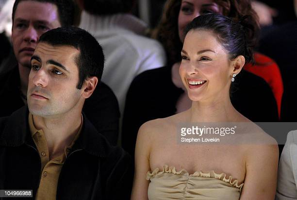 Ashley Judd and Dario Franchitti during Olympus Fashion Week Fall 2004 Tuleh Front Row at Bryant Park in New York City New York United States