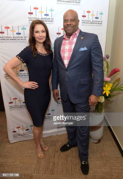 Ashley Judd and H Beecher Hicks III attend the Women In Harmony event hosted by the National Museum Of African American Music at BMI on March 14 2018...