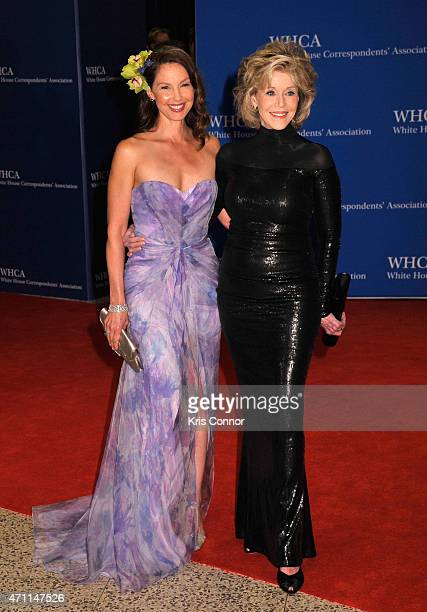 Ashley Judd and Jane Fonda attend the 101st Annual White House Correspondents' Association Dinner at the Washington Hilton on April 25 2015 in...