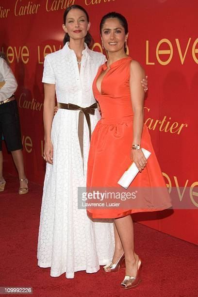 Ashley Judd and Salma Hayek during Cartier and Interview Magazine Celebrate The Cartier Charity Love Bracelet at The Cartier Mansion in New York City...