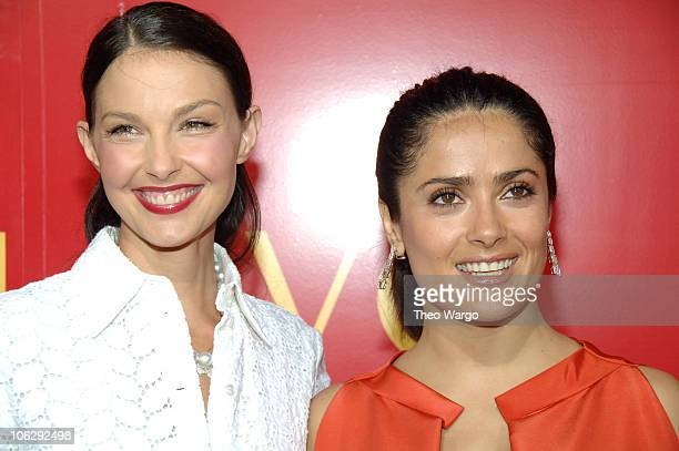 Ashley Judd and Salma Hayek during The Cartier Charity Love Bracelet Party Red Carpet at Cartier in New York City New York United States