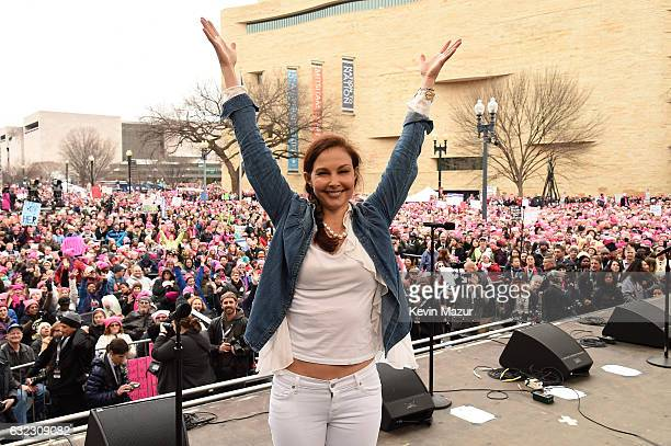 Ashley Judd appears onstage during the rally at the Women's March on Washington on January 21 2017 in Washington DC