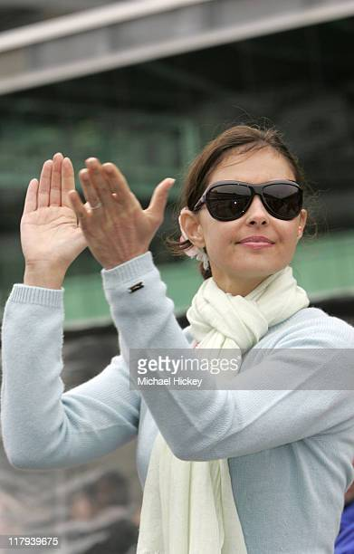 Ashley Judd applauds her husband Dario Franchitti in his qualifying effort landing a front row starting position for the Indianapolis 500 at...