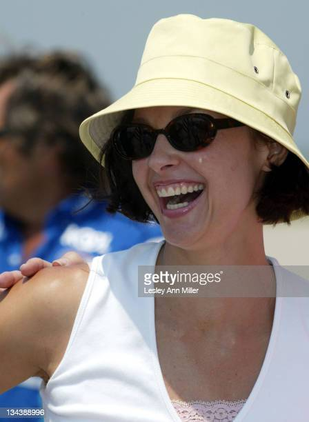 Ashley Judd enjoys a moment prior to the start of the race