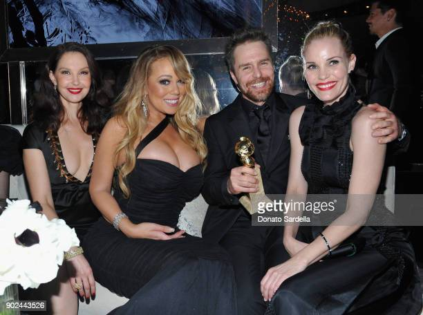 Ashley Judd Mariah Carey Sam Rockwell and Leslie Bibb attend the 2018 InStyle and Warner Bros 75th Annual Golden Globe Awards PostParty at The...