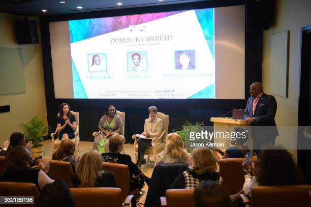 Ashley Judd Tarana Burke Demetria Kalodimos and H Beecher Hicks III attend the Women In Harmony event hosted by the National Museum Of African...