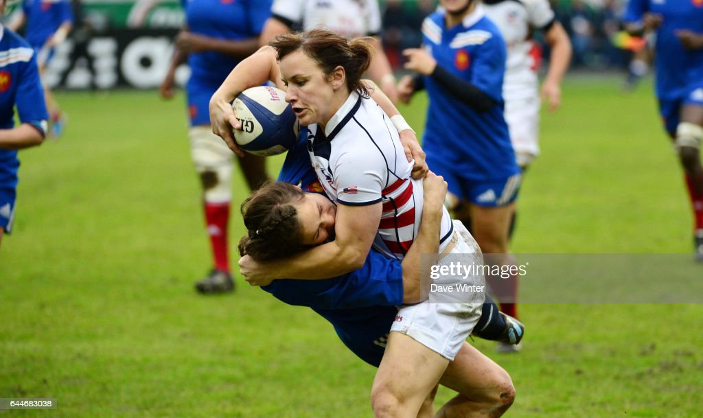 Ashley KMIECIK / Camille GRASSINEAU - - France / Etas Unis - Rugby feminin - Photo: Dave Winter / Icon Sport.