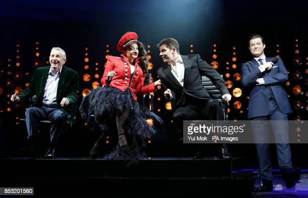 Ashley Knight Victoria Elliott Nigel Harman and Simon Bailey performing during a photocall for The X Factor musical I Can't Sing by Harry Hill and...
