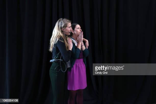 Ashley LambSinclair reacts to winner the Uber Pitch at Girlboss Rally NYC 2018 at Knockdown Center on November 18 2018 in Maspeth New York