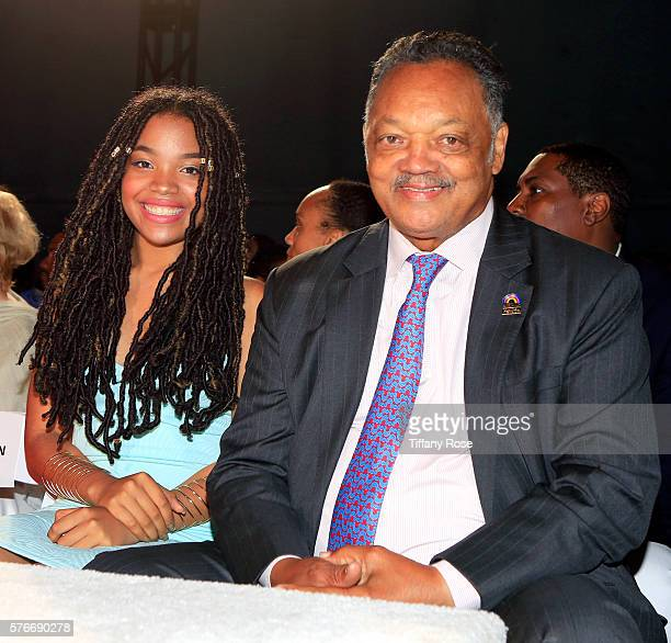 Ashley Laverne Jackson and civil rights activist Jesse Jackson attend HollyRod Foundation's DesignCare Gala on July 16 2016 in Pacific Palisades...