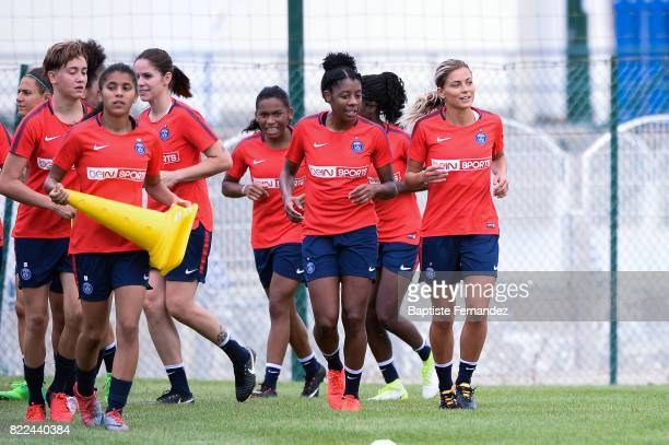 Ashley Lawrence and Laure Boulleau of Paris Saint Germain during a training session of Paris Saint Germain at Bougival on July 25 2017 in Paris France