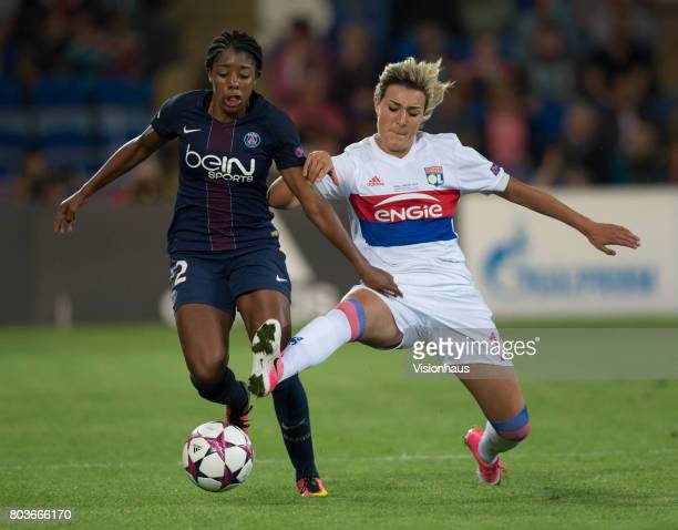 Ashley Lawrence of Paris St Germain and Claire Lavogez of Olympique Lyonnais in action during the UEFA Women's Champions League Final between...