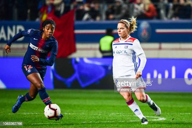 Ashley Lawrence of PSG and Eugenie Le Sommer of Lyon during the Women's Division 1 match between Paris Saint Germain and Olympique Lyonnais on...