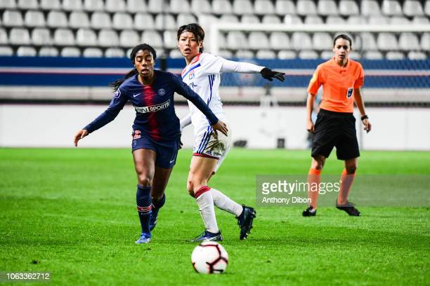 Ashley Lawrence of PSG and Saki Kumagai of Lyon during the Women's Division 1 match between Paris Saint Germain and Olympique Lyonnais on November 18...
