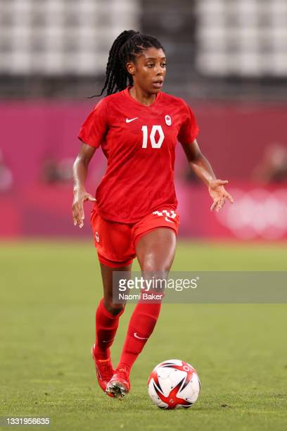 Ashley Lawrence of Team Canada runs with the ball during the Women's Semi-Final match between USA and Canada on day ten of the Tokyo Olympic Games at...