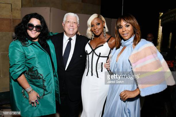 Ashley Longshore Dennis Basso Mary J Blige and Deborah Cox backstage at the Dennis Basso Spring/Summer 2019 Collection Runway Show during New York...