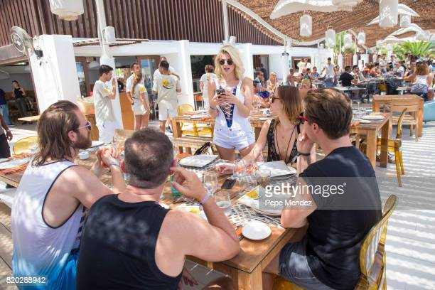 Ashley Louise James is seen at Hard Rock Hotel Ibiza at the presentation of the Global Gift Beach Party on July 21 2017 in Ibiza Spain