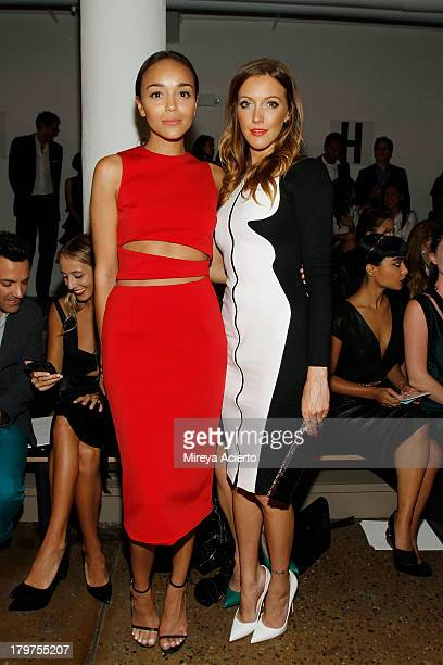 Ashley Madekwe and Katie Cassidy attend the Cushnie Et Ochs fashion show during MADE Fashion Week Spring 2014 at Milk Studios on September 6 2013 in...