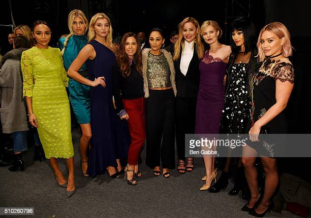 Ashley Madekwe Devon Windsor a guest Monique Lhuillier Cara Santana Abbie Cornish Jennifer Morrison Jamie Chung and Hilary Duff pose backstage at the...