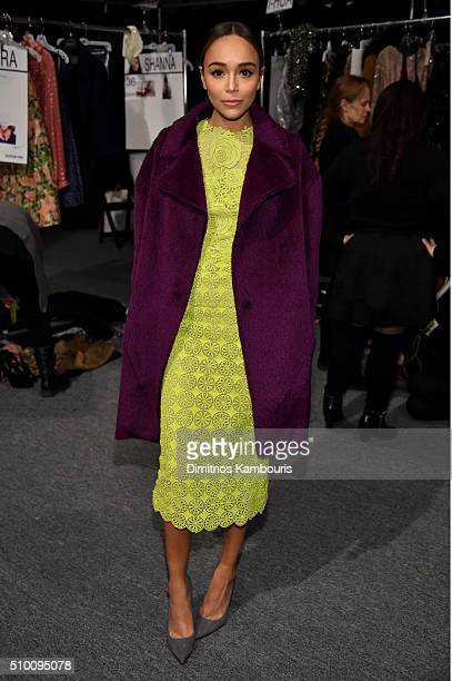 Ashley Madekwe poses backstage at the Monique Lhuillier Fall 2016 fashion show during New York Fashion Week The Shows at The Arc Skylight at Moynihan...