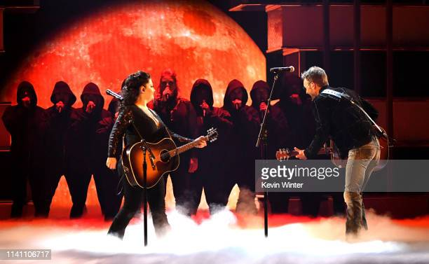 Ashley McBryde and Eric Church perform onstage during the 54th Academy Of Country Music Awards at MGM Grand Garden Arena on April 07 2019 in Las...
