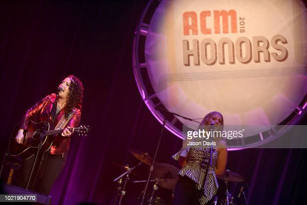 Ashley McBryde and Lauren Alaina perform onstage during the 12th Annual ACM Honors at Ryman Auditorium on August 22 2018 in Nashville Tennessee