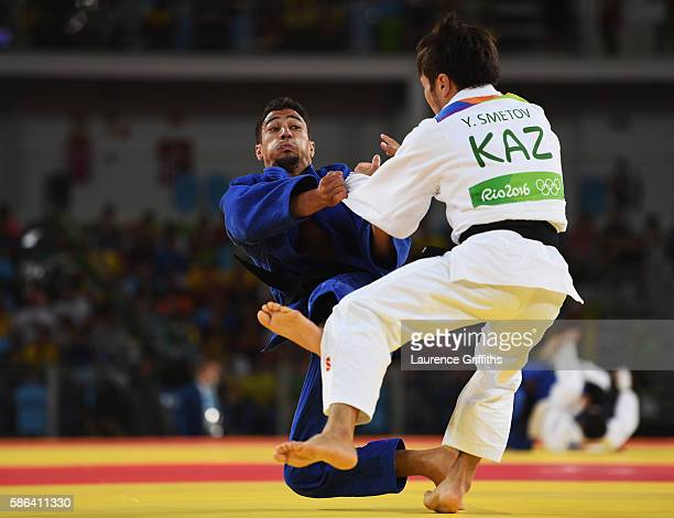 Ashley McKenzie of Great Britain competes against Yeldos Smetov of Kazakhstan in the Men's 60 kg Judo on Day 1 of the Rio 2016 Olympic Games at...