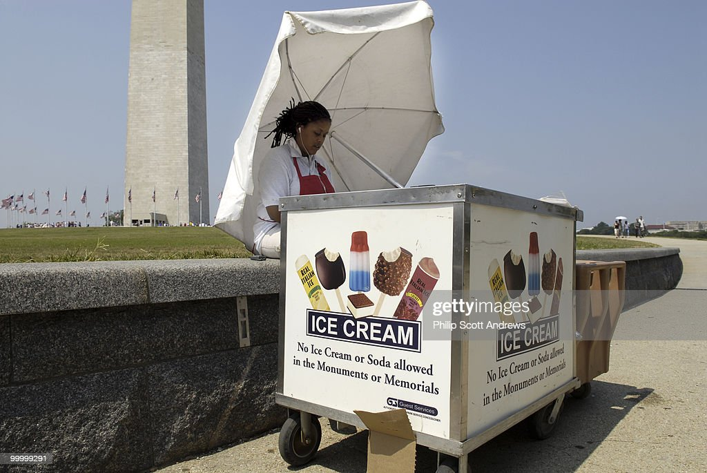 Ashley Miller sells ice cream outside the Washington Monument on the National mall to tourists looking for relief from the summer heat. Temperatures in Washington D.C. are expected to reach around 100 degrees in the coming week.