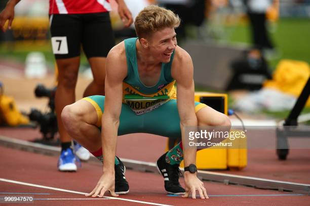 Ashley Moloney of Australia celebrates crossing the finish line to win gold in the men's decathlon on day two of The IAAF World U20 Championships on...