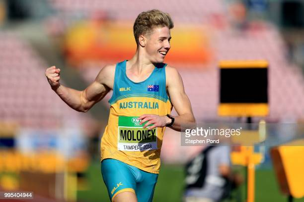 Ashley Moloney of Australia celebrates winning the second heat of the men's decathlon 400m on day one of The IAAF World U20 Championships on July 10...
