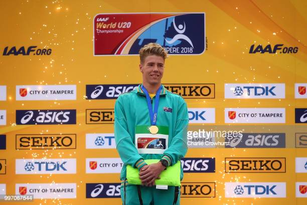 Ashley Moloney of Australia receives his gold medal during the medal ceremony for the men's decathlon on day three of The IAAF World U20...