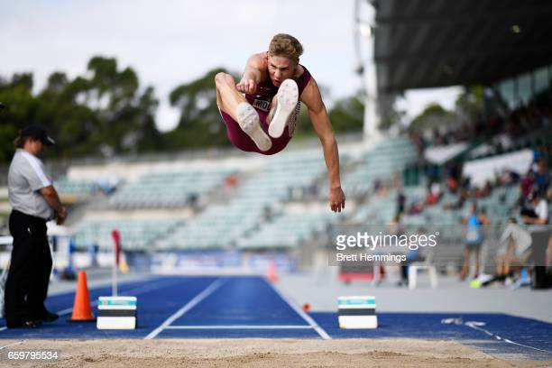 Ashley Moloney of Queensland competes in his U18 Long Jump Decathlon during day four of the 2017 Australian Athletics Championships at Sydney Olympic...