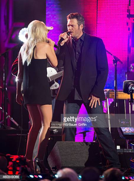 Ashley Monroe and Blake Shelton are seen at 'Jimmy Kimmel Live' on December 11 2014 in Los Angeles California