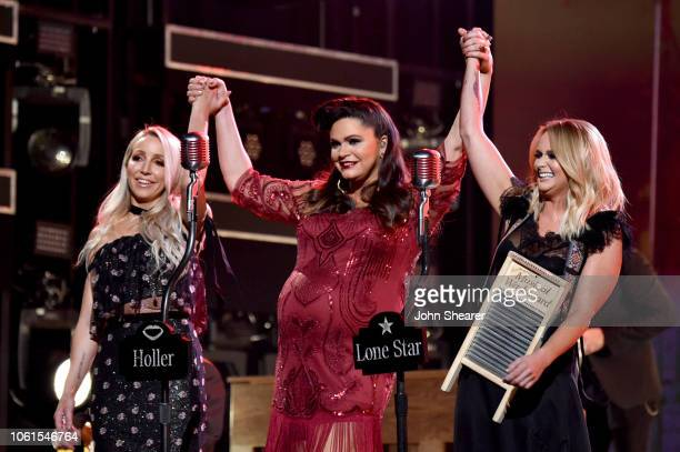 Ashley Monroe Angaleena Presley and Miranda Lambert of the Pistol Annies perform during the 52nd annual CMA Awards at the Bridgestone Arena on...