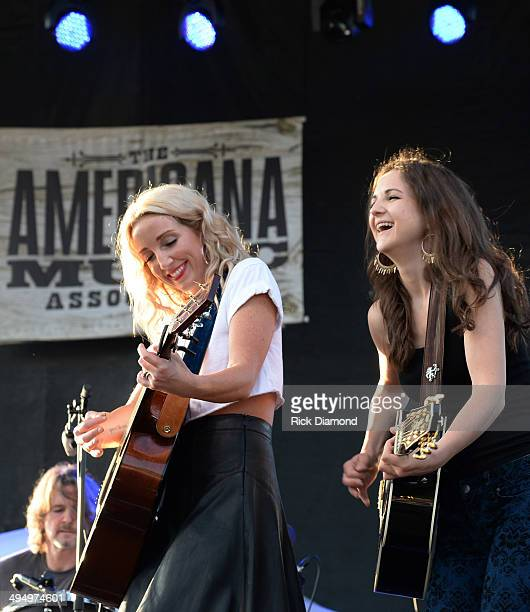 Ashley Monroe is joined by Sarah Zimmermann of Striking Matches during Americana's Cross County Lines at The Park at Harlinsdale Farm on May 31 2014...
