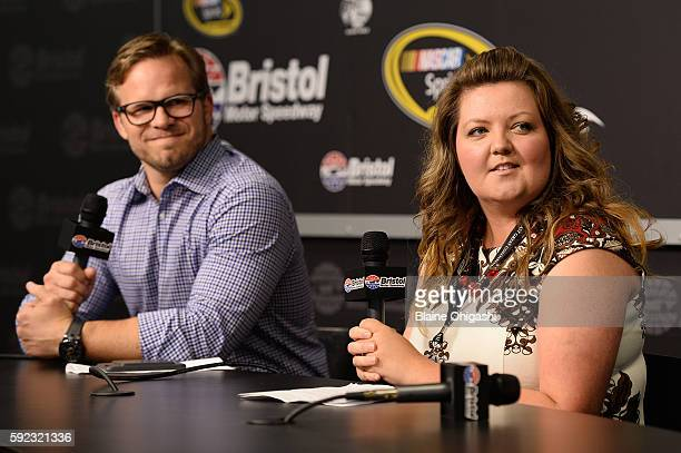 Ashley Montanaro Manager of Brand and Creative at Aspen Dental management and Marcus Smith CEO of Speedway Motorsports Inc speak in a press...