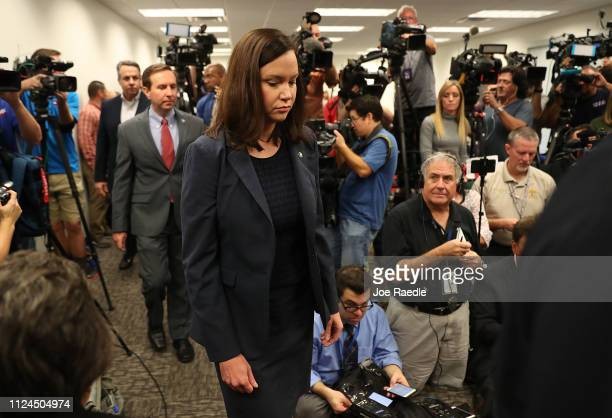 Ashley Moody Florida's Attorney General arrives to speak to the media about the shooting at a SunTrust Bank branch on January 24 2019 in Sebring...