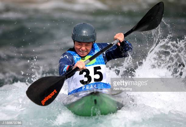 Ashley Nee of The United States competes in the Women's K1 during the 2019 ICF Canoe Slalom World Cup at Lee Valley White Water Centre on June 14...