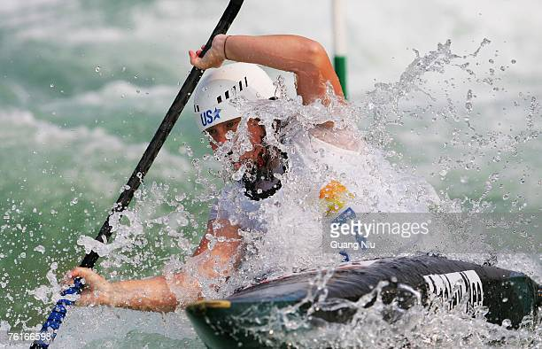 Ashley Nee of USA competes in the women's Kayak Slalom Racing during day three of the Good Luck Beijing 2007 Canoe/Kayak Slalom Open the Olympic...
