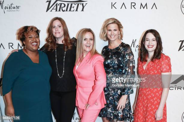 Ashley Nicole Black Alison Camillo Samantha Bee Allana Harkin and Jackie Knobbe during the 2018 Variety's Power Of Women New York at Cipriani Wall...