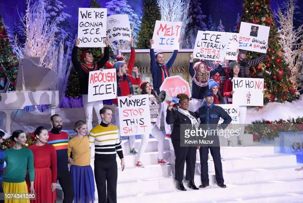Ashley Nicole Black and Mike Rubens perform during Full Frontal With Samantha Bee Presents Christmas On ICE at PlayStation Theater on December 17...