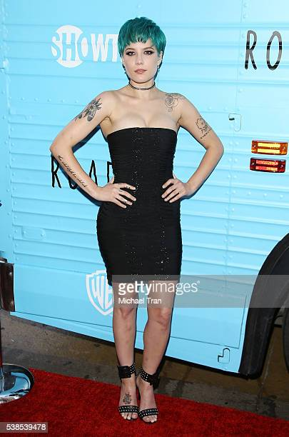Ashley Nicolette Frangipane aka Halsey arrives at the Los Angeles premiere of Showtime's 'Roadies' held at The Theatre at Ace Hotel on June 6 2016 in...